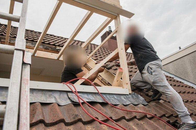 dakkapel in aanbouw